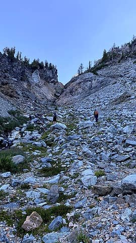Waterfall gully to the climbing basin