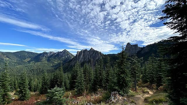 All three peaks in view – French Cabin Mountain, French Chin, French Tongue