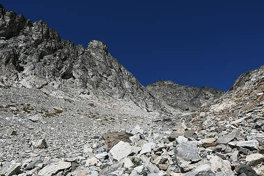 Heading up talus slope on Dumbell