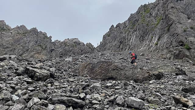Approaching the gully.
