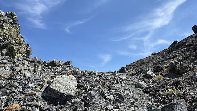 The saddle before wrapping to the summit block