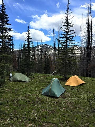 Our campsite just below Horsethief Basin and the summit t rail