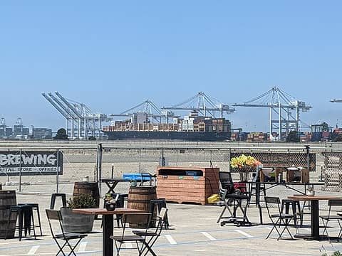 a nice brewery in Alameda with San Francisco in the foreground