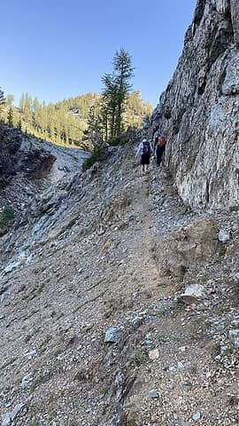 Easier climbers path to the right of the waterfall