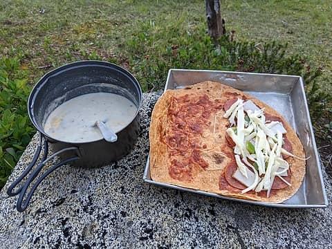 Potato Soup and Combo Pizza