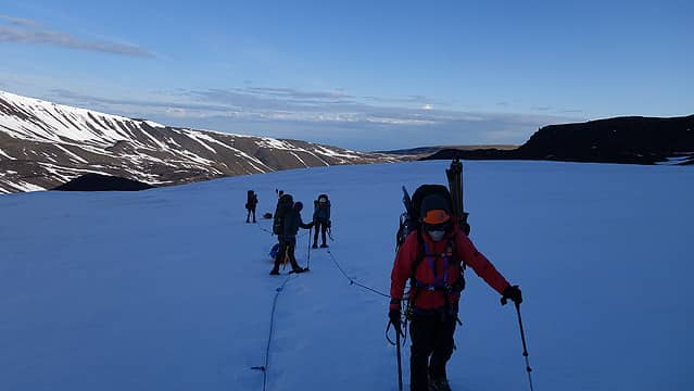 Making our way up the lower glacier