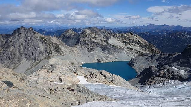 Pea Soup Lake from upper Lynch Glacier