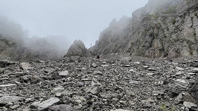 Looking up the gully, seeking a weakness in the fortress of rock.