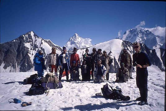 our group on the pass with K2 behind
