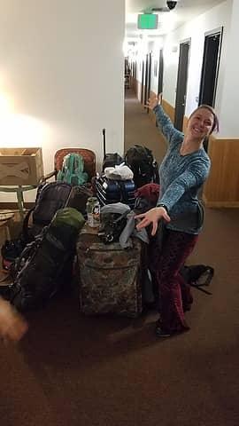 Pile of our gear at Sockeye Inn