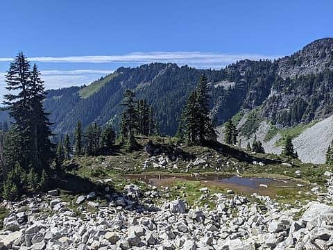 Tarn on ascent to Ridge