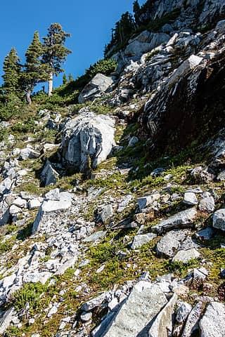 looking back to passage through wild goat cliffs