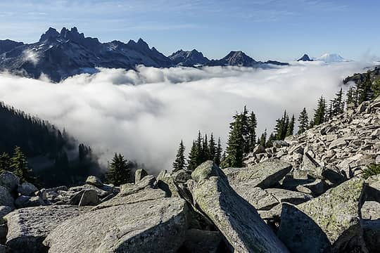above the cloud deck in the middle fork valley