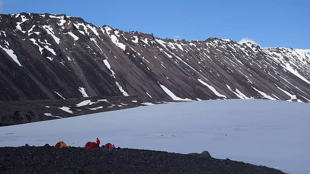 Our camp with the Sheep Glacier behind