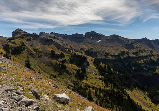 Hawkeye Point and the rest of the Lily Basin trail to the SE.