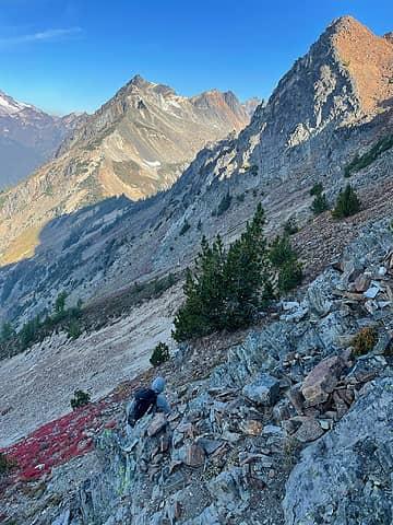 Dropping toward the saddle  below Little Giant peak