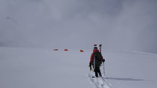 Reaching the tents at high camp