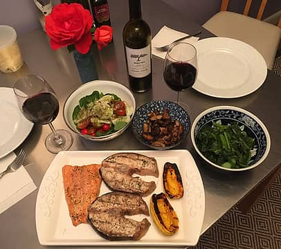 grilled sturgeon, wild coho filet, delicata squash, steamed gai lin and salad 090421
