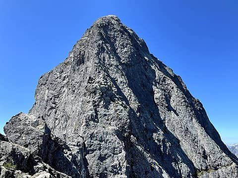 On the first gendarme. A lot of the features of the ridge blend together in these photos.