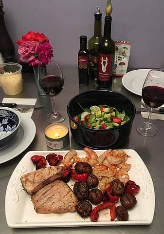 grilled wild Argentine shrimp, swordfish, mushrooms and red pepper with salad 082921