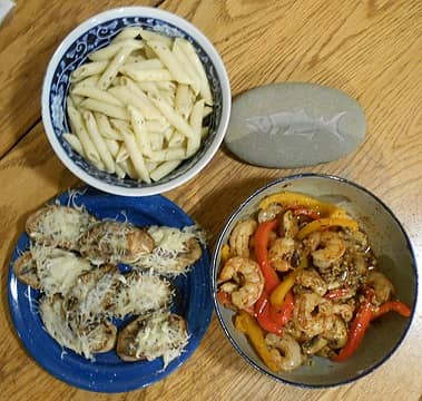 shrimp scampi with penne and anchovy toast