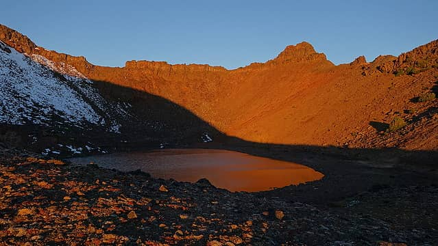 Sunrise over Legore Lake from camp