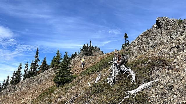 Benson approaching the summit of French Cabin Mountain