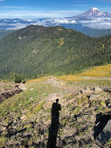 Looking back from the base of the scramble. I came up the meadow in between the two gullies.