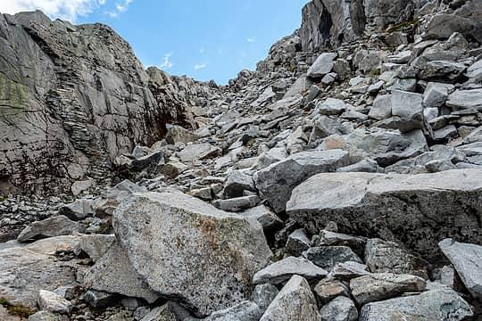 climbing up to the ridge between iron cap lake and chetwoot lake