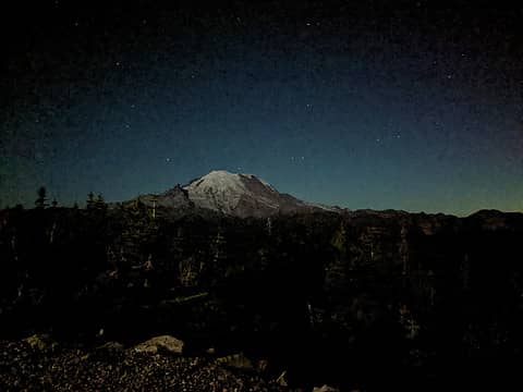 Rainier At Night from top of the Gondola at Crystal 8/27/2021, about midnight-ish