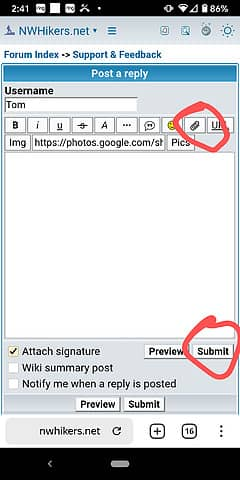 Click on paperclip icon, select image, wait for upload to complete, then hit submit