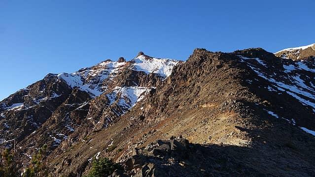 Hiking to north ridge of Twin Peaks
